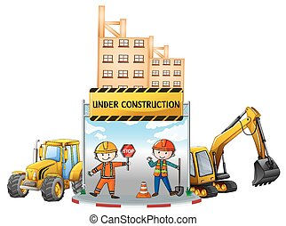 Workers and building under construction illustration