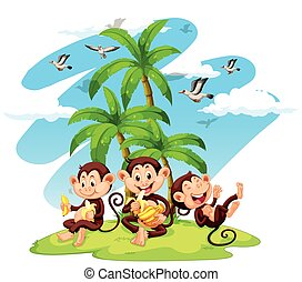 Three monkeys eating bananas illustration
