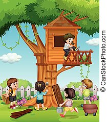 Children playing at the treehouse in the garden illustration
