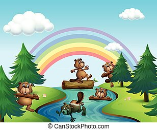 Beavers and logs by the river illustration