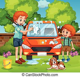 Father and son washing car in the backyard