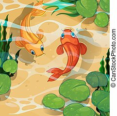 Scene with kois swimming in the pool illustration