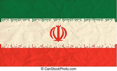 Iran paper flag - Vector image of the Iran paper flag
