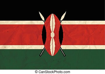 Kenya paper flag - Vector image of the Kenya paper flag