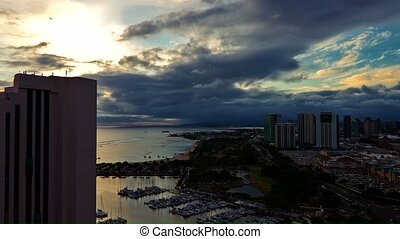 Timelapse, View On Waikiki Beach, Honolulu, Big Island,...