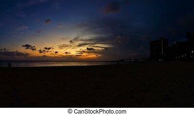 Timelapse, Waikiki Beach Sunset, Oahu, Hawaii - 4K...