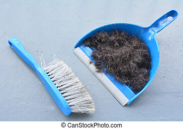 Brush broom with dustpan cleaning human hair - Blue brush...