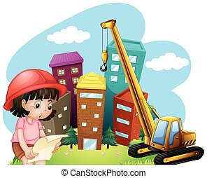 Girl and construction site illustration