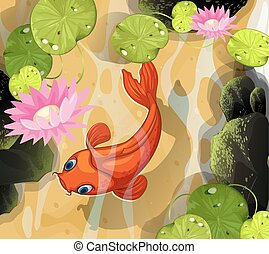 Koi swimming in the pond illustration