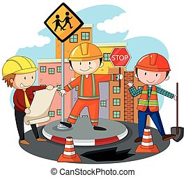 People working at the road construction illustration