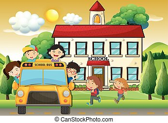 Children on schoolbus to school illustration