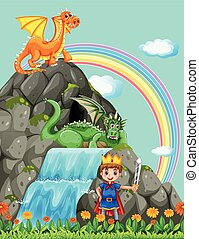 Prince and dragons at the waterfall illustration