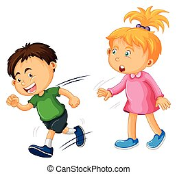 Boy and girl on white background