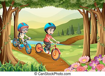 Two boys riding bicycle in the park