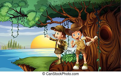 Two kids camping by the river illustration