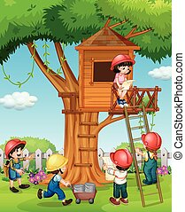 Children building treehouse in the park illustration