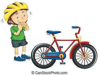 Boy wearing helmet before riding bike illustration
