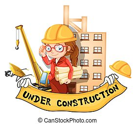 Female engineer and sign under construction illustration