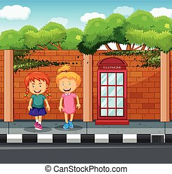 Two girls standing at the pavement illustration