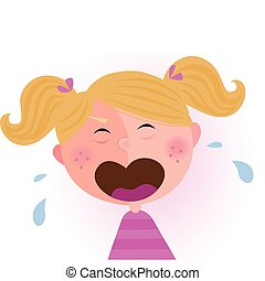 Crying baby girl - Crying small child Vector cartoon...