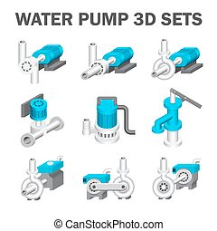 Water pump icon - Vector of water pump sets isolated on...
