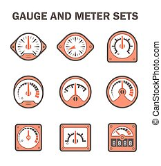Gauge meter - Vector of gauge or meter sets