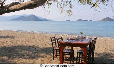 quot;Turkish breakfast at beach by sea, fethiye, turkeyquot;...