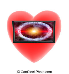 heart with monitor on a white background