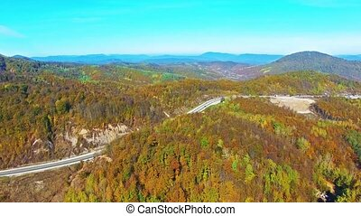 Mountains - Flying over the mountains, river at autumn...