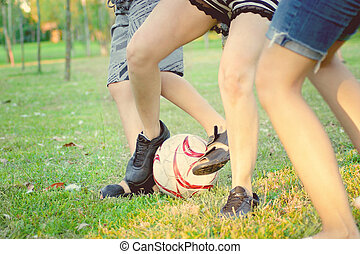 foots with ball