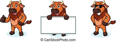 Bison Mascot Vector happy, pose and bring board