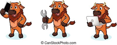 Bison Mascot Vector with laptop, phone and tools