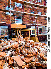 rubble on building site - rubble at a construction site...