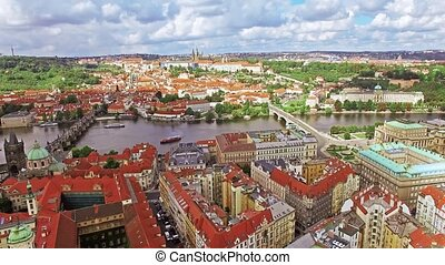 Fly over Prague Czech Republic - Area Lesser Town of Prague,...