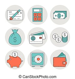 Finance outline icons