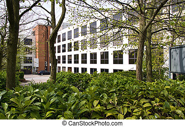 Green office - Modern office block surrounded by leaves and...