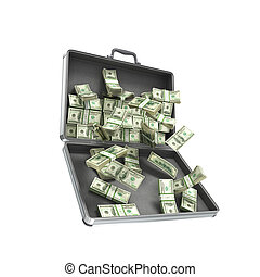 3d illustration open metal case with money isolated on white...