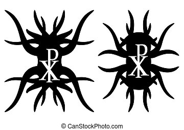 Chi rho hipster elements. Christogram. Isolated on white...