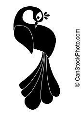 Peacock silhouette. Isolated