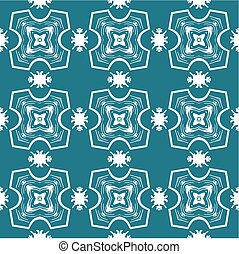 Seamless ornate pattern in white on blue
