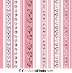 Seamless striped pattern with floral motif