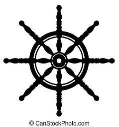 Ship steering wheel silhouette isolated on white