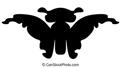Butterfly silhouette. Isolated - Cartoon butterfly...