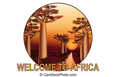Sunset in the African baobab forest emblem 3 - Sunset in the...