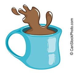 Cup of coffee with splash. Hot chocolate. Isolated