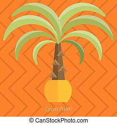 Africa plants. Palm trees, flowers and green grass, white background