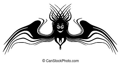Fantasy monster with wings. Tattoo. Isolated