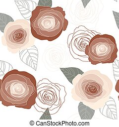 Seamless vector roses pattern on white background