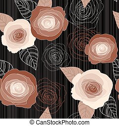 Seamless vector roses pattern on black background