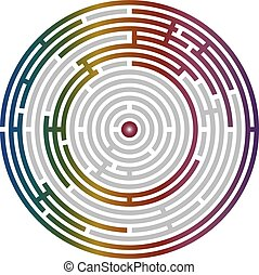 Circular labyrinth abstract, logic puzzle with bright...